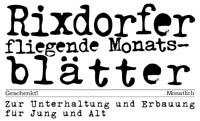 Rixdorfer  fliegende Monatsblätter - aktuelle Ausgabe